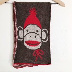 Green 3 Sock Monkey Winter Scarf Recycled